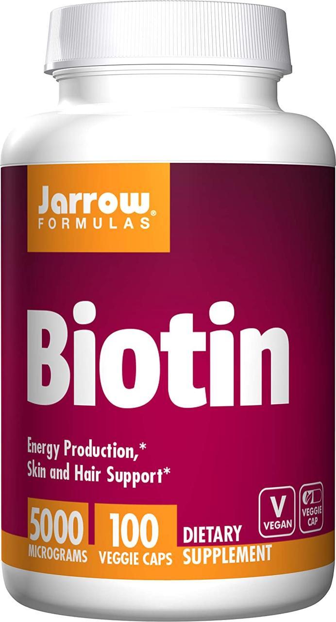 Вітаміни для шкіри, нігтів і волосся Біотин Jarrow Formulas Biotin 5000 100 капс Оригінал! (341930)