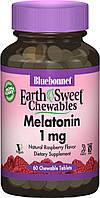 Снотворное Bluebonnet Nutrition Melatonin 1 мг Вкус Малины Earth Sweet Chewables 60 жевательных таблеток