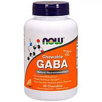 Гамма-Аміномасляна Кислота Now Foods GABA (Гама-Аміномасляна Кислота) Цитрусовий Смак 250 мг 90 жувальних