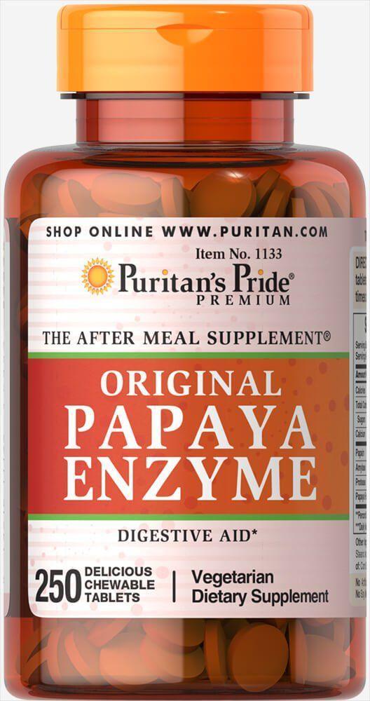 Вітаміни і мінерали Puritans Pride Papaya Enzyme 250 таб Оригінал! (343919)