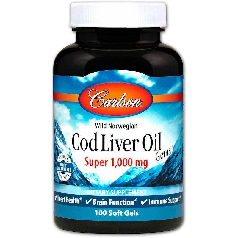 Норвезька Жир з Печінки Carlson Labs Cod Liver Oil 1000 мг 250 гельових капсул Оригінал! (343098)
