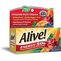 Мультивитаминный-Мультиминерал Nature's Way Alive Energy 50+ For Adults 50+ 60 Таблеток Оригинал! (343113)