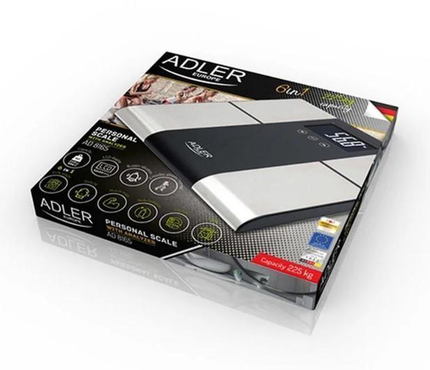 Електронні підлогові ваги Adler AD 8165, до 225 кг, з LED-дисплеєм і аналізатором
