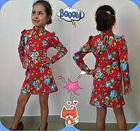 Красное детское трикотажное платье в цветочек. Арт-1519
