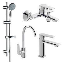 KIT 30093 набор смесителей (4 в 1), смеситель для умывальника, смеситель для ванны, душевой гарнитур,
