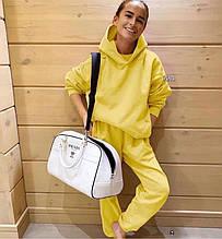 Женский спортивный костюм, турецкая двунить, р-р С-М; М-Л (жёлтый)