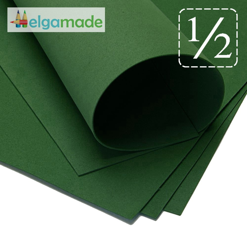 Фоамиран ТЕМНО-ТЕМНО ЗЕЛЕНЫЙ, 1/2 листа, 30x70 см, 0.8-1.2 мм, Иран