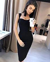 Женское платье, креп - дайвинг, р-р С-М; М-Л (чёрный)