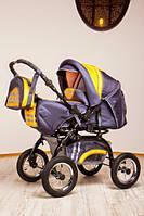 Коляска детская универсальная 2 в 1 Rover Trans baby серый с желтым