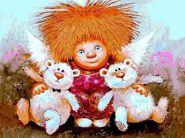 Картины по номерам 30×40 см Babylon Солнечный ангелочек с мишками Г. Чувиляева (VK 284)