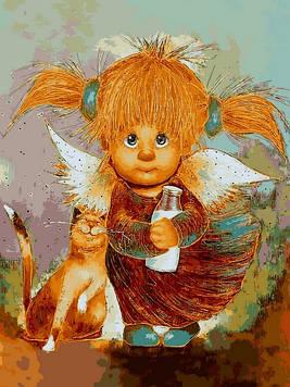 Картины по номерам 30×40 см Babylon Солнечный ангелочек с хвостиками Г. Чувиляева (VK 285)