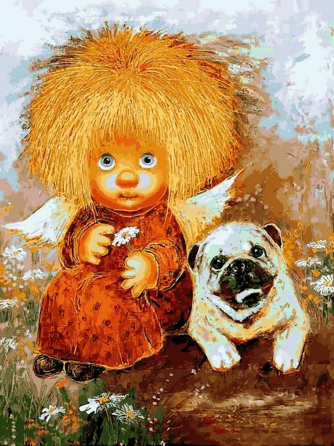 Картины по номерам 30×40 см Babylon Солнечные ангелы с собачкой Г. Чувиляева (VK 287)