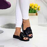 Шлепанцы женские черные натуральная кожа, фото 4