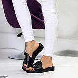 Шлепанцы женские черные натуральная кожа, фото 5