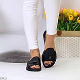 Шлепанцы женские черные натуральная кожа, фото 8