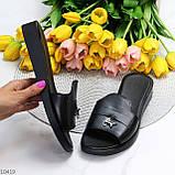 Шлепанцы женские черные натуральная кожа, фото 9
