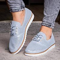 Женские кожаные туфли Fashion Niky 1726 36 размер 23 см Голубой