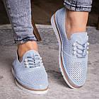 Женские кожаные туфли Fashion Niky 1726 36 размер 23,5 см Голубой, фото 2