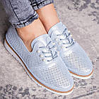 Женские кожаные туфли Fashion Niky 1726 36 размер 23,5 см Голубой, фото 3