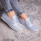 Женские кожаные туфли Fashion Niky 1726 36 размер 23,5 см Голубой, фото 4