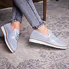 Женские кожаные туфли Fashion Niky 1726 36 размер 23,5 см Голубой, фото 5
