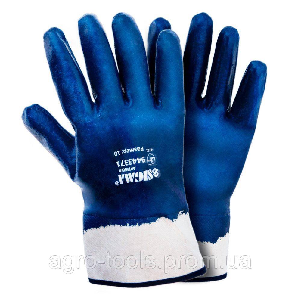 Рукавички трикотажні з нітриловим покриттям (сині краги) 120 пар SIGMA (9443371)