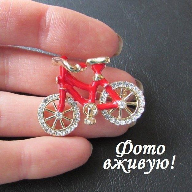 Яркая брошь велосипед