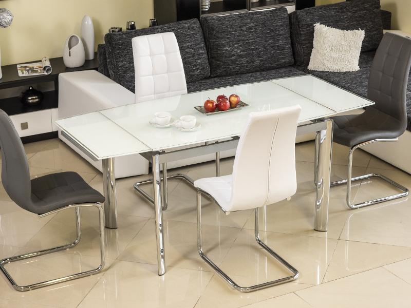 Стол стеклянный раскладной GD-020 (120-180) Белый