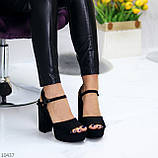 Только 38,39 р! Женские босоножки черные на каблуке 11 см эко-замш, фото 3