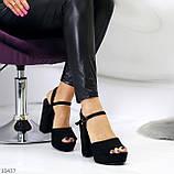 Только 38,39 р! Женские босоножки черные на каблуке 11 см эко-замш, фото 4