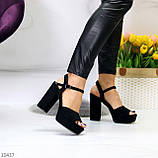 Только 38,39 р! Женские босоножки черные на каблуке 11 см эко-замш, фото 2
