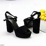 Только 38,39 р! Женские босоножки черные на каблуке 11 см эко-замш, фото 7