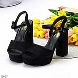 Только 38,39 р! Женские босоножки черные на каблуке 11 см эко-замш, фото 8