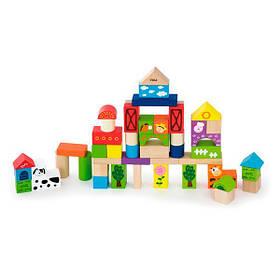 Дерев'яні кубики Viga Toys Ферма, 50 шт., 3 см (50285)