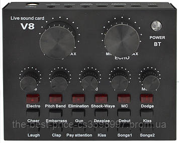 Внешняя звуковая карта V8 c Bluetooth и встроенными пресетами Black