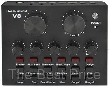 Зовнішня звукова карта V8 з Bluetooth і вбудованими пресетами Black (7635)
