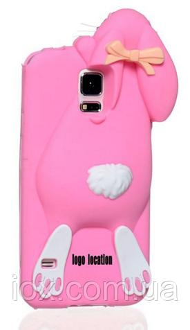 Розовый чехол зайчик Moschino для Samsung S5