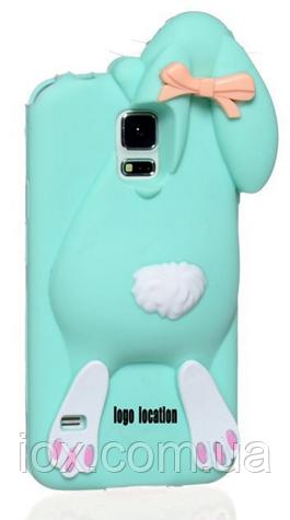 Голубой чехол зайчик Moschino для Samsung S5