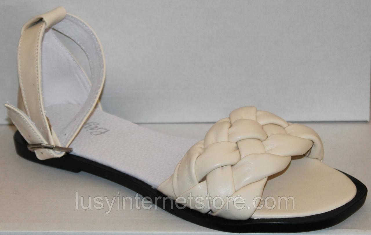 Шкіряні босоніжки косичка на низькому ходу від виробника модель ЛИ21-02