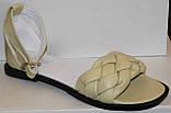 Шкіряні босоніжки косичка на низькому ходу від виробника модель ЛИ21-02, фото 3