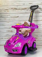 Машина-толокар JOY 3545 - Р (1) цвет РОЗОВЫЙ, РУССКОЕ ОЗВУЧИВАНИЕ, родительская ручка, съемный защитный бампер