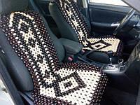 Деревянная массажная накидка на сиденье автомобиля УЗОРЫ ПАРА! (нелактрованая)