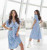 Літнє жіноче плаття голубе в дрібну квіточку з софта ТК/-61303/1