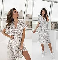 Літнє жіноче плаття біле в дрібну квіточку з софта ТК/-61303/1