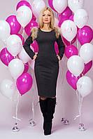 Модное женское новогоднее платье 897 (серый)