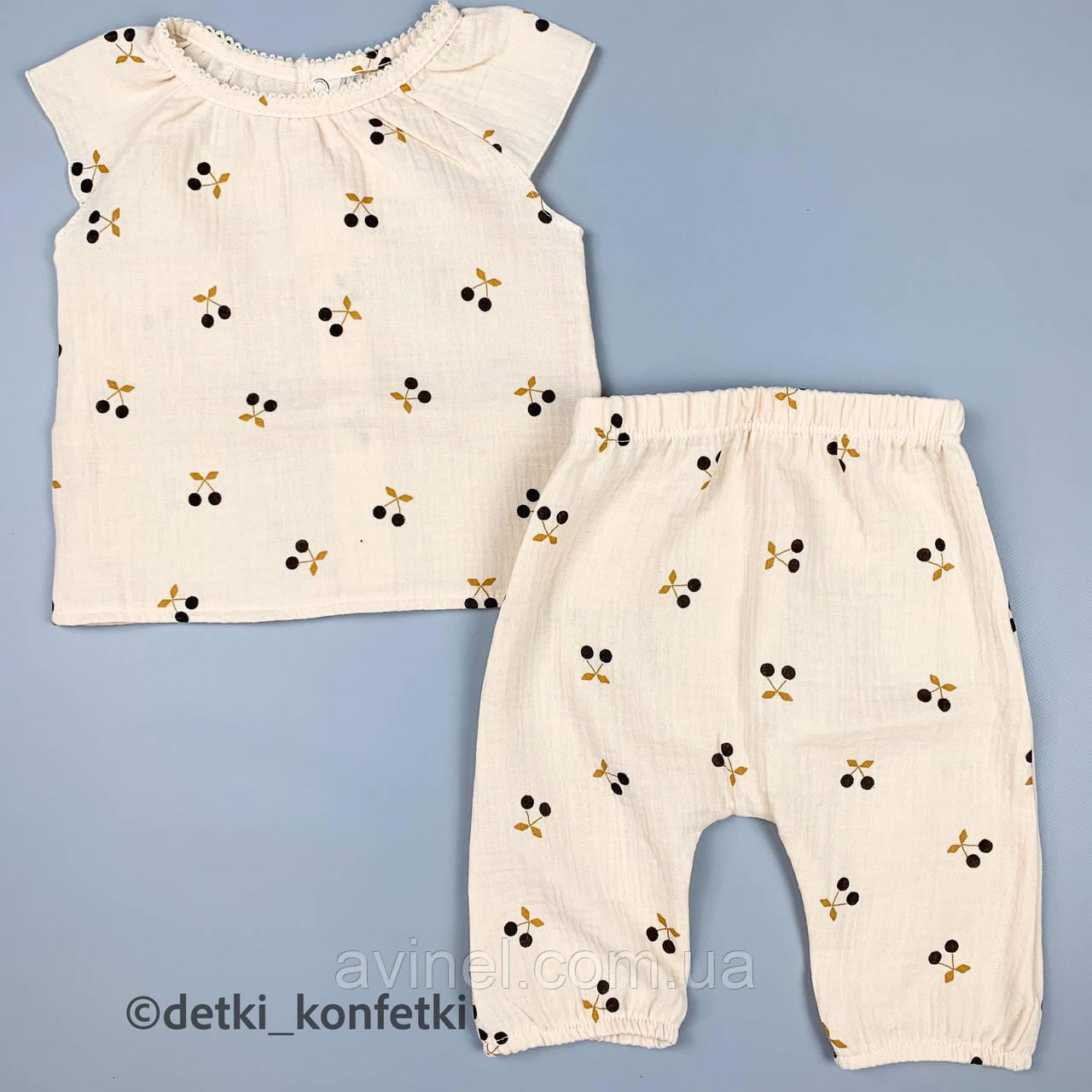 Комплект футболка, штаны для  девочки Бежевый Муслин  MINIKIN Украина 68 (р)