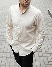 Льняная мужская рубашка длинный рукав Сл 1840,1844,1846