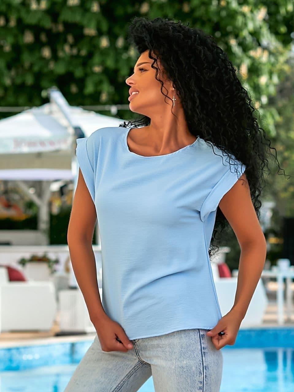 Летняя блуза с коротким рукавом в свободном фасоне повседневная в нескольких расцветках (р. 42-56) 8413485