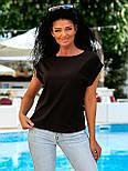 Летняя блуза с коротким рукавом в свободном фасоне повседневная в нескольких расцветках (р. 42-56) 8413485, фото 3