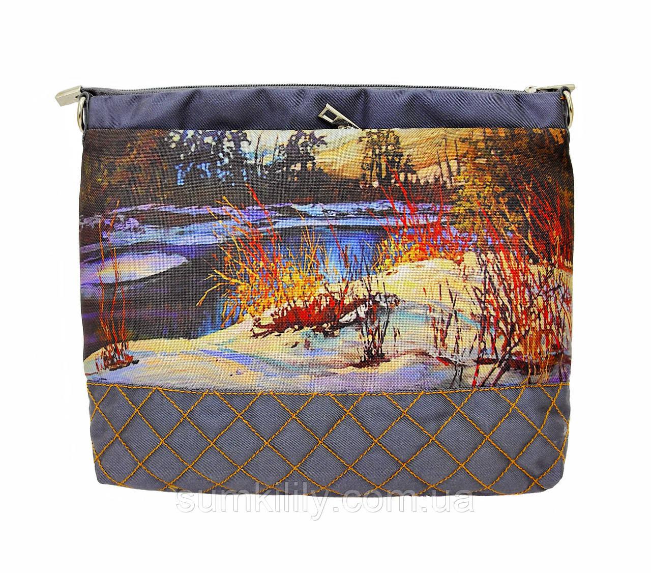 Текстильна сумочка Зимовий пейзаж 2